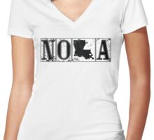 NOLA Street Tiles Women's Fitted V-Neck T-Shirt