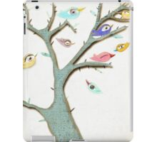 Retro Grungy Birds in a Mixed Media Rustic Tree iPad Case/Skin