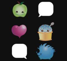 Super KAWAII apple heart hedgehog and icecream stickers Kids Tee