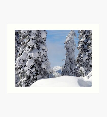 Steep Winter Hillside at Hurricane Ridge Art Print