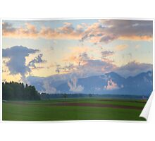rapeseed field in Brnik with Kamnik Alps in the background Poster