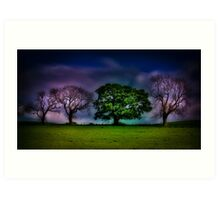A colourful line of trees Art Print