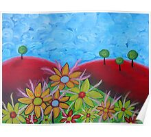 Flowers on red hills Poster