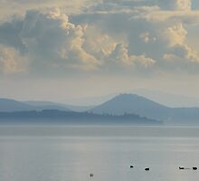 Lago Trasimeno from Passignano Sul Trasimeno, Umbria. Italy by Andrew Jones