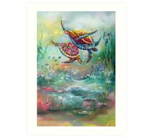 ohhh.. to swim with the Turtles Art Print