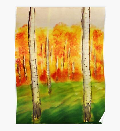 The Forest of Birch Trees, watercolor Poster