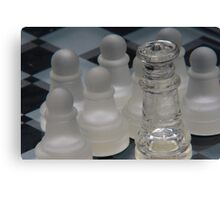 Chess Queen Surrounded by Pawns Canvas Print