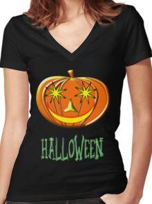A Pumpkin Halloween T-shirt Women's Fitted V-Neck T-Shirt