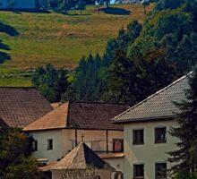 Small village in autumn scenery Sticker