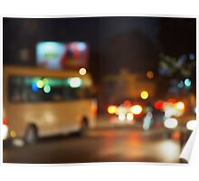 Abstract night scene with bus and headlights Poster