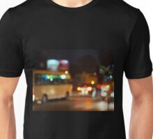 Abstract night scene with bus and headlights Unisex T-Shirt