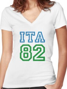 ITALY 1982 Women's Fitted V-Neck T-Shirt