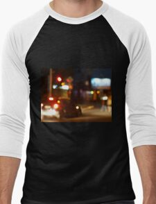 Blur and defocused lights from the headlights of cars Men's Baseball ¾ T-Shirt