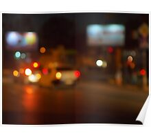 Abstract night scene with blurred headlights Poster