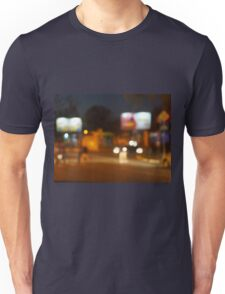 Abstract urban night scene with blurred headlights on the road Unisex T-Shirt
