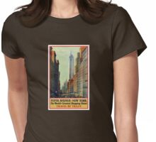 New York Vintage Travel Poster Womens Fitted T-Shirt