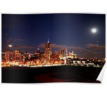 Full Moon over Downtown Denver Skyline  Poster
