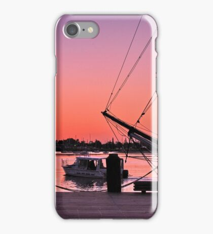 Sunset at port iPhone Case/Skin