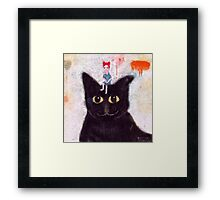 woman and cat. Framed Print