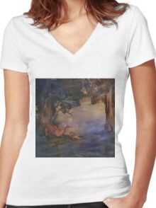 Fantasy Forest 4 Women's Fitted V-Neck T-Shirt
