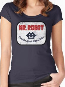 Mr Robot - Computer Repair With A Smile Women's Fitted Scoop T-Shirt
