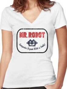 Mr Robot - Computer Repair With A Smile Women's Fitted V-Neck T-Shirt