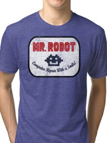 Mr Robot - Computer Repair With A Smile Tri-blend T-Shirt