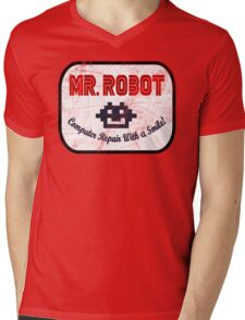Mr Robot - Computer Repair With A Smile Mens V-Neck T-Shirt