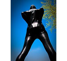 Black Snakeskin Zentai in the Field 3-4 Photographic Print
