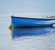 Fishing vessel, CY4Boat, Wooden, Rowing boat, Blue, Anchored by Hugh McKean