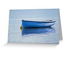 Fishing vessel, CY4Boat, Wooden, Rowing boat, Blue, Anchored Greeting Card