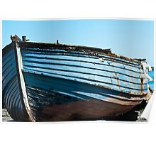 Boat, Wooden dinghy, ashore, rotting  Poster