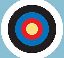 Bulls Eye, Right on Target, Roundel, Archery, on Blue by TOM HILL - Designer