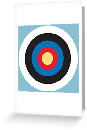 Bulls Eye, Right on Target, Roundel, Archery, Mod, Hit, on Blue by TOM HILL - Designer