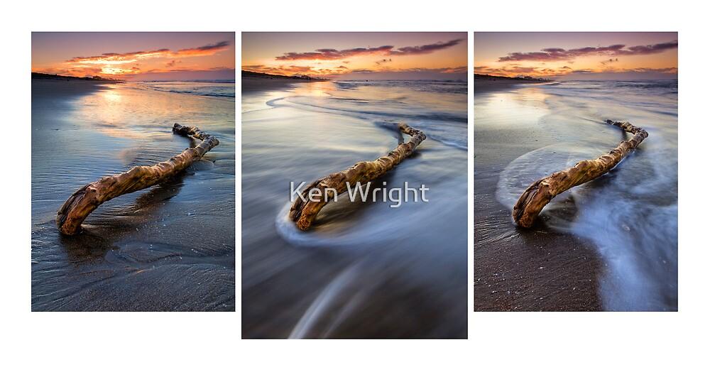 Deadwood Drifting ~ Papamoa Dusk Triptych by Ken Wright