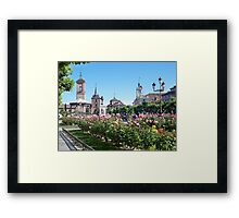 Cervantes Plaza, Alcala de Henares, Madrid, Spain Framed Print