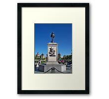Statue of Miguel de Cervantes, Cervantes Plaza, Alcala de Henares, Madrid, Spain Framed Print