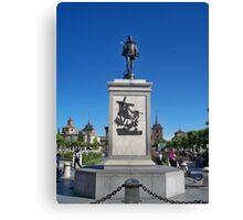 Statue of Miguel de Cervantes, Cervantes Plaza, Alcala de Henares, Madrid, Spain Canvas Print