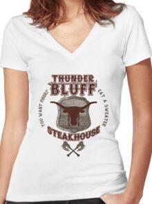 Thunderbluff Steakhouse! Women's Fitted V-Neck T-Shirt