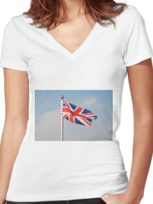 Union Jack flag, England Women's Fitted V-Neck T-Shirt