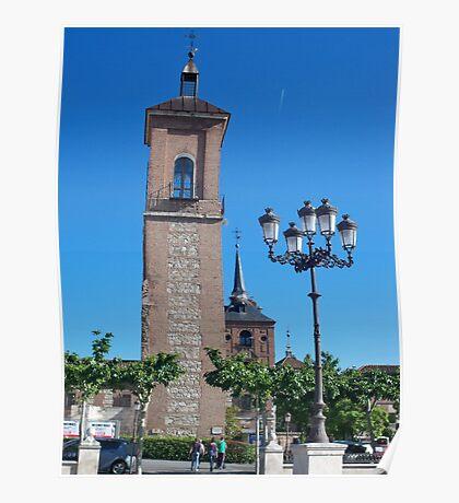 Tower of Judge's Chapel, Cervantes Plaza, Alcala de Henares, Madrid, Spain Poster