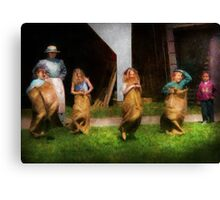 Children - The sack race  Canvas Print