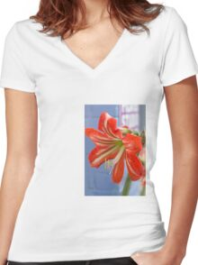 Tania's Happy Hippy plants - Hippeastrum Women's Fitted V-Neck T-Shirt