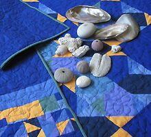 Fish & Chips Quilt - detail with shells  by Helen  Richards