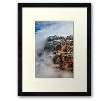 "Clouds surrounding the ""Towers"" of Astraka Framed Print"