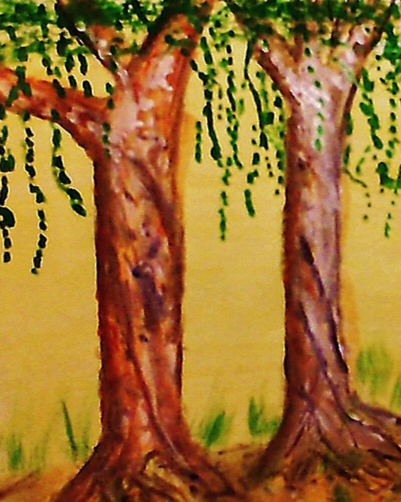 Old Trees with Character, watercolor by Anna  Lewis, blind artist