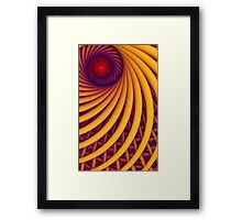 Abstract fantasy swirl tunnel with yellow and purple lines Framed Print