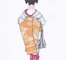 Geisha in Nara - Back View by anajayarts