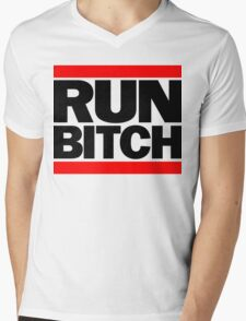 RUN BITCH (Black) Mens V-Neck T-Shirt