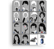The Eleven Doctors and His Latest Companions Canvas Print